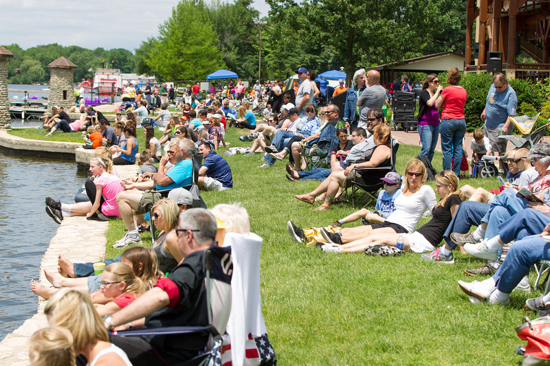 A large crowd gathered to watch Dragon Boat Races and The Wonder Lake National Championship Water Ski team perform during The St. Charles River Fest at Pottawatomie Park in St.Charles, IL on Sunday, June 08, 2014 (Sean King for Shaw Media)