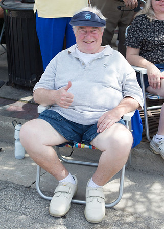 Phil Frydendall of Bloomingdale, IL enjoys his 65th straight Swedish Days Parade sitting in the same spot every year<br /> at Swedish Days Parade in Geneva, IL on Sunday, June 22, 2014 (Sean King for Shaw Media)