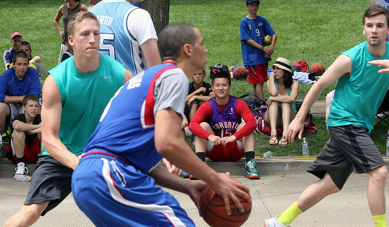 Jeff Krage – For Shaw Media<br /> Spectators watch as players compete in Saturday's 3-on-3 Basketball Tournament during Swedish Days in Geneva.<br /> Geneva 6/21/14