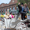 Parade Marshal Richard Peck waves to the crowd during The Swedish Days Parade in Geneva, IL on Sunday, June 22, 2014 (Sean King for Shaw Media)
