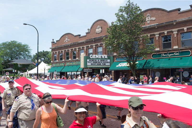 The American Flag was carried out by Boy Scout Troops and family during the start of The Swedish Days Parade in Geneva, IL on Sunday, June 22, 2014 (Sean King for Shaw Media)
