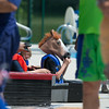 Team Seahorses member Brady Barnes 9, of St. Charles tries on his horse head prior to the start of the Sink or Swim Cardboard Boat Races at Swanson Pool in St. Charles, IL on Saturday, June 28, 2014 (Sean King for Shaw Media)