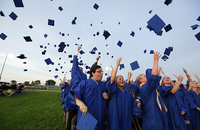 Class of 2016 toss their caps after the Johnsburg High School graduation on Friday, June 3, 2016 in Johnsburg.  John Konstantaras photo for the Northwest Herald