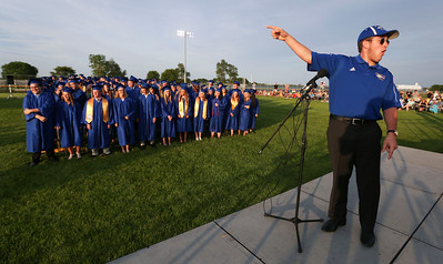 Jack DeStephano leads the Class of 2016 as they help principal Kevin Shelton with his speech during Johnsburg High School graduation on Friday, June 3, 2016 in Johnsburg.  John Konstantaras photo for the Northwest Herald