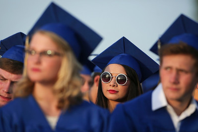 Anastasia Brown listens to a speaker with the Class of 2016 during Johnsburg High School graduation on Friday, June 3, 2016 in Johnsburg.  John Konstantaras photo for the Northwest Herald