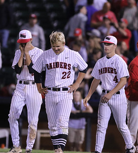 Sarah Nader - snader@shawmedia.com Huntley's Charlie Nugent (left) Trevor Ranallo and Ryan McGran walk off the field during Monday's Class 4A  Supersectional final against Mundelein at Boomers Stadium in Schaumburg June 6, 2016. Mundelein won, 8-0.
