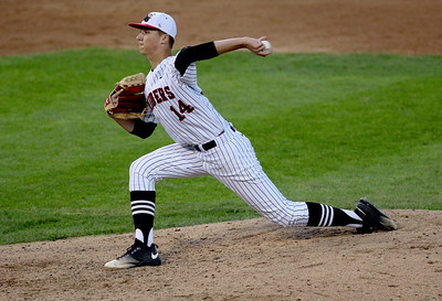 Sarah Nader - snader@shawmedia.com Huntley's Adam Smylie pitches during Monday's Class 4A  Supersectional final against Mundelein at Boomers Stadium in Schaumburg June 6, 2016. Mundelein won, 8-0.