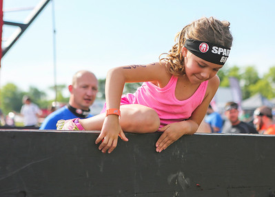 Mike Greene - For Shaw Media  Alexa Hagberg, 6 of Franklin Park, practices before participating in the kids heat of the Spartan Race: Chicago Super 2016 Saturday, June 11, 2016 at the Richmond Hunt Club in Richmond.