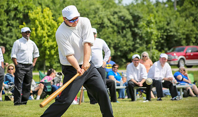 """Mike Greene - For Shaw Media  Grayslake Athletics' Brian """"B. Diddy"""" Ditton, of Grayslake swings at a pitch during a Civil War-era baseball game against the McHenry County Independants Sunday, June 12, 2016 at Village Hall Park in Prairie Grove."""