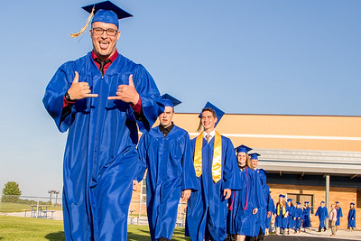 Joe Moore and other members of the 2017 graduating class take the field Friday, Jun 2, 2017 at Johnsburg High School in Johnsburg.  KKoontz – For Shaw Media