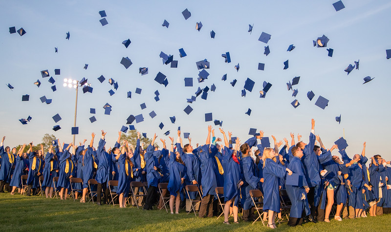 Johnsburg's class of 2017 let their mortarboards fly following the graduation ceremony Friday, Jun 2, 2017 at Johnsburg High School in Johnsburg.  KKoontz – For Shaw Media
