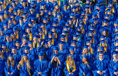 The graduating class of 2017 awaits the beginning of the commencement ceremony Friday, Jun 2, 2017 at Johnsburg High School in Johnsburg.  KKoontz – For Shaw Media