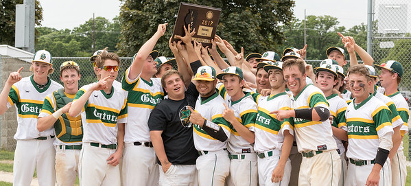 Crystal Lake South celebrates after beating Huntley 6-2 in the Class 4A sectional championship game held Saturday, Jun 3, 2017 at Peterson Park in McHenry.  KKoontz – For Shaw Media