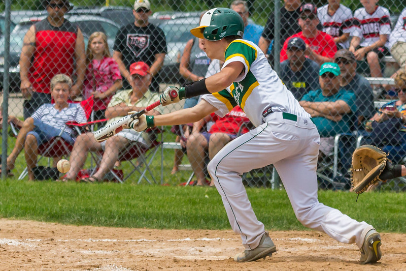 Crystal Lake South shortstop Kory Olsen lays down a bunt Saturday, Jun 3, 2017 at Peterson Park in McHenry. Crystal Lake South went on to win the Class 4A sectional championship game 6-2. KKoontz – For Shaw Media