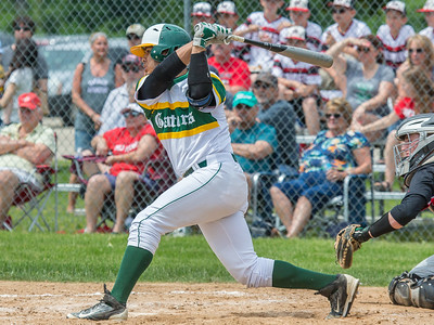 Crystal Lake South's third-baseman Brian Fuentes Reyes doubles and drives in two runs Saturday, Jun 3, 2017 at Peterson Park in McHenry. Crystal Lake South went on to win the Class 4A sectional championship game 6-2. KKoontz – For Shaw Media