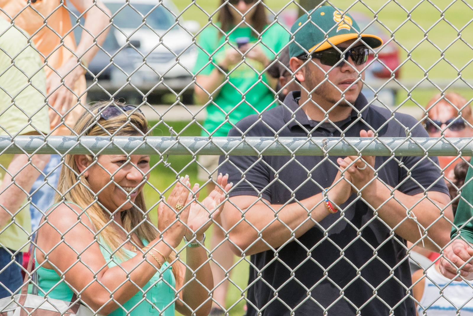 Mother, Scarlett Fuentes, and Uncle, Damil Fuentes, cheer on Crystal Lake South third baseman Brian Fuentes during the Class 4A sectional baseball tournament Saturday, Jun 3, 2017 at Peterson Park in McHenry. Crystal Lake South went on to win the Class 4A sectional championship game 6-2. KKoontz – For Shaw Media
