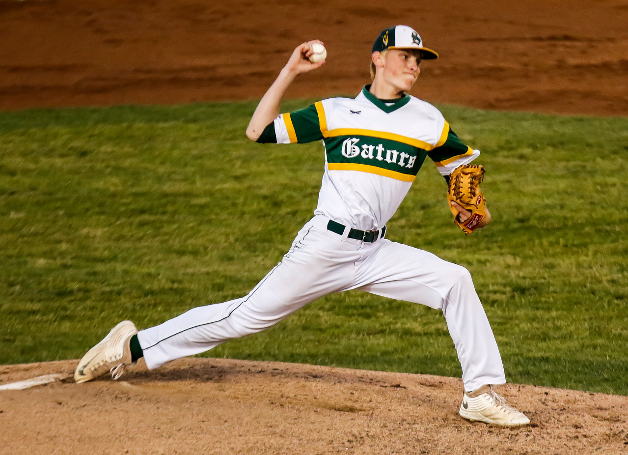 Sarah Nader - snader@shawmedia.com Crystal Lake South's Andrew Engelking pitches during Monday's Class 4A Super Sectional sectional championship game against Mundelein June 5, 2017 at Boomers Stadium in Schaumburg . South won, 6-2.