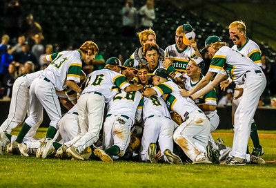 Sarah Nader - snader@shawmedia.com Crystal Lake South baseball players celebrate after winning Monday's Class 4A Super Sectional sectional championship game against Mundelein June 5, 2017 at Boomers Stadium in Schaumburg . South won, 6-2.