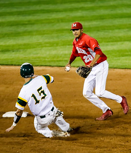 Sarah Nader - snader@shawmedia.com Crystal Lake South's Brent Chubb is tagged out by Mundelein's Ryan Patel while he slides to second during the sixth inning of Monday's Class 4A Super Sectional sectional championship game June 5, 2017 at Boomers Stadium in Schaumburg . South won, 6-2.