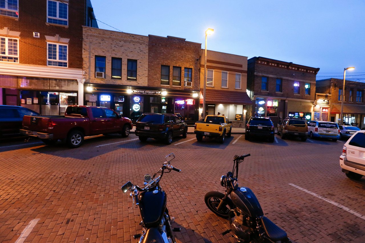 Restaurants along Benton St. on the Woodstock Square Friday, June 16, 2017 in Woodstock, Illinois. An proposed outdoor dining plan that will allow four restaurants to have outdoor seating in what is now 12 parking spaces on the Square will be discussed in a council meeting on June 20. John Konstantaras photo for the Northwest Herald