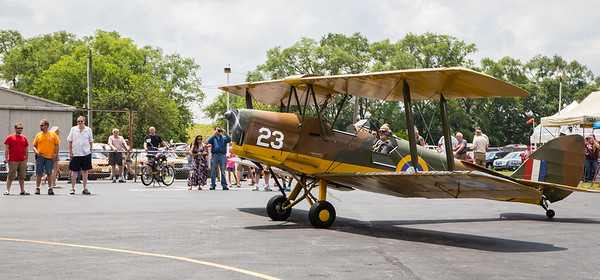 David Hall taxi's his plane, a 1945 de Havilland Tiger Moth, during the annual Barnstormer Days held Saturday, June 17, 2017.  Ken Koontz- For Shaw Media