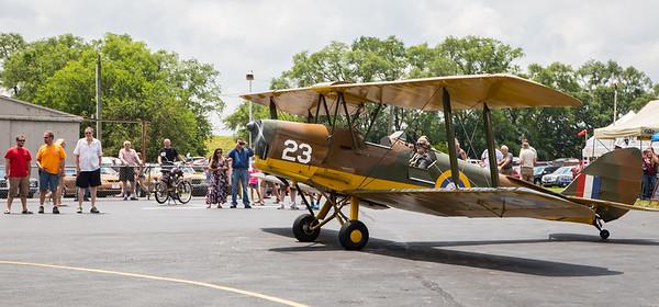 David Hall taxi's his plane, a 1945 de Havilland Tiger Moth, during the annual Barnstormer Days held Saturday, June 17, 2017.  Ken Koontz- For Shaw Media