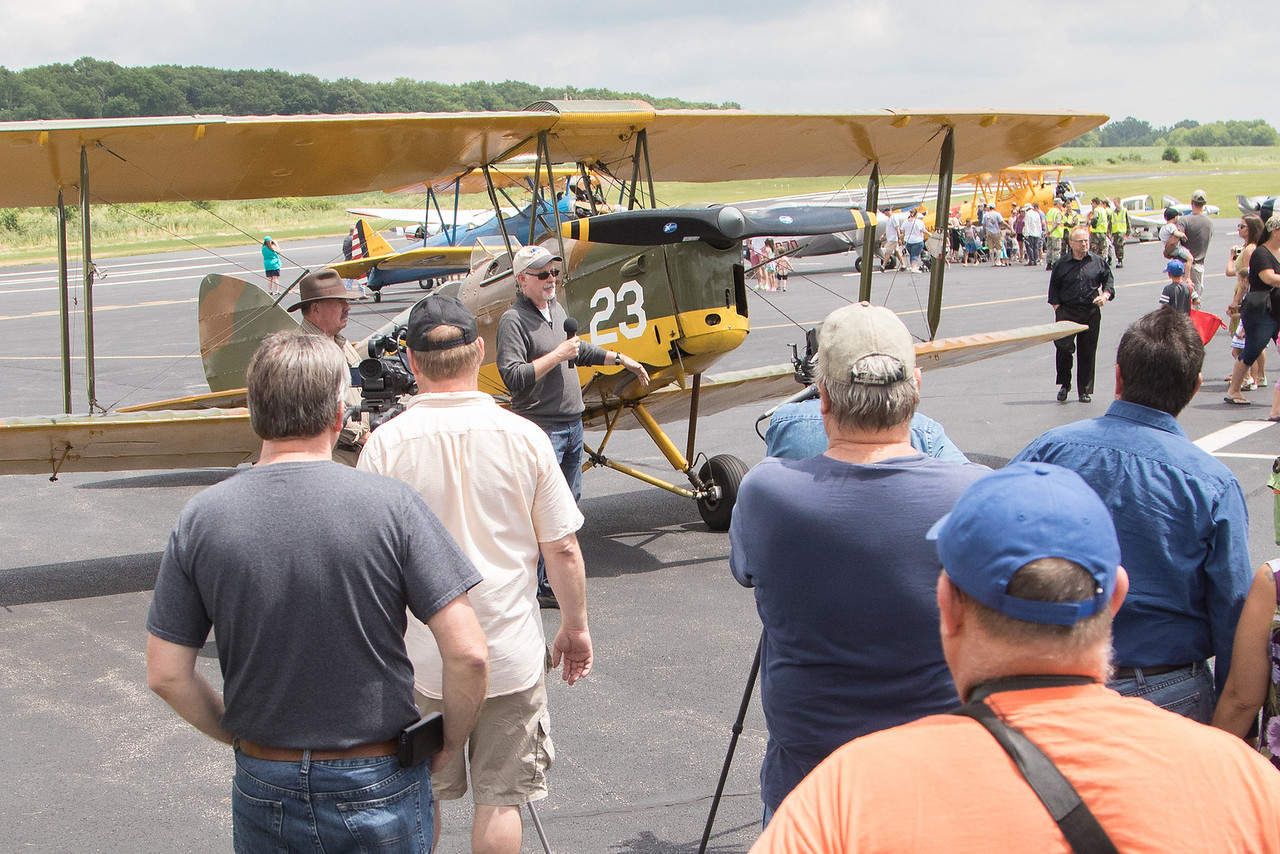 David Hall talks about his plane, a 1945 de Havilland Tiger Moth, during the annual Barnstormer Days held Saturday, June 17, 2017.  Ken Koontz- For Shaw Media