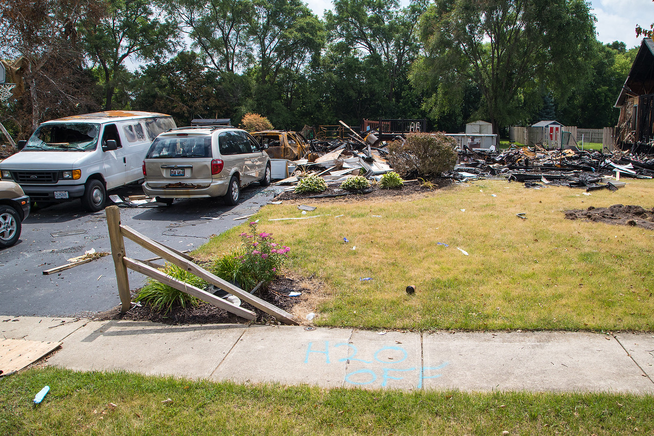 All that remains of the Keefer family home in Marengo Saturday, June 17, 2017 after it was destroyed by a gas explosion last Sunday morning. Tim Keefer is the wrestling coach at Marengo, and the wrestling community is organizing a benefit for the Keefer family Sunday, June 25, 2017. Ken Koontz- For Shaw Media