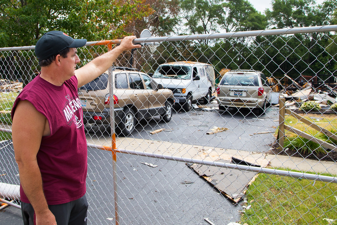 Tim Keefer looks over what is left of his home in Marengo Saturday, June 17, 2017 after it was destroyed by a gas explosion last Sunday morning. Tim Keefer is the wrestling coach at Marengo, and the wrestling community is organizing a benefit for the Keefer family Sunday, June 25, 2017. Ken Koontz- For Shaw Media
