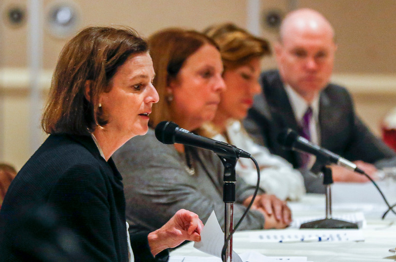 Sarah Nader - snader@shawmedia.com President of Advocate Good Shepherd Hospital Karen Lambert makes a statement at the Health Facilities and Service Review Board hearing for the Mercy hospital that plans to build in Crystal Lake Tuesday, June 20, 2017 in Bolingbrook. There were presentations of support and opposition while the board members determined how to decide on this $80 million facility.