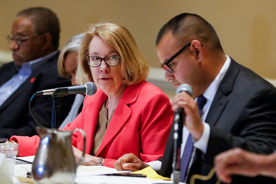 Sarah Nader - snader@shawmedia.com Kathy Olson (center), chairman of the Illinois Health Facilities and Services Review Board listens to speakers during a Health Facilities and Service Review Board hearing for the Mercy hospital that plans to build in Crystal Lake Tuesday, June 20, 2017 in Bolingbrook. There were presentations of support and opposition while the board members determined how to decide on this $80 million facility.