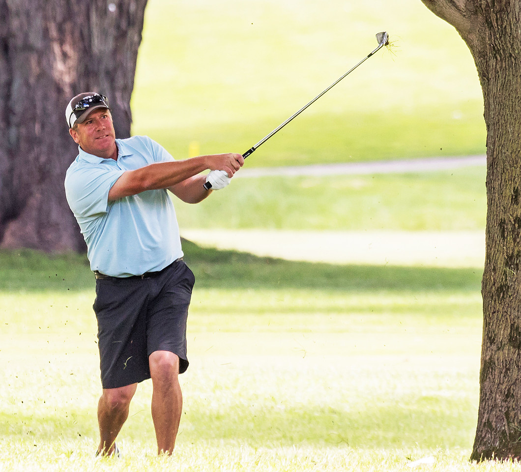 Steve Sawtell fights to get back on the fairway Saturday June 24, 2017 during the McHenry County Amateur Golf Tournament held at the McHenry Country Club in McHenry. Sawtell took second place finishing behind Greg Bauman after a one hole playoff.  KKoontz- for Shaw Media