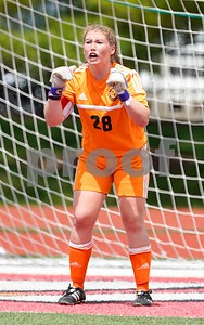 Lemont goalkeeper Michelle Jerantowski (28) shouts out instructions to her team against Burlington Central during a Class 2A third place state final at North Central College in Naperville June 3. Sean King for Shaw Media