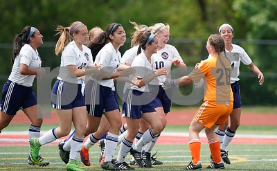Lemont midfielder Michaela Egan (10) is greeted by her team after scoring a goal against Burlington Central during a Class 2A third place state final at North Central College in Naperville June 3. Sean King for Shaw Media