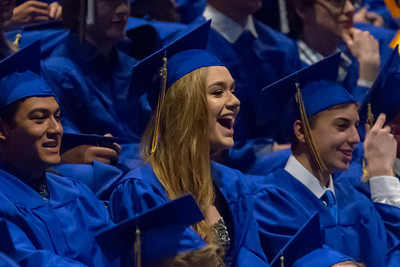 Johnsburg 2018 graduate Isabelle Lindsay enjoys a moment during the senior movie played before the graduation ceremony Friday, June 1, 2018 in Johnsburg. KKoontz – For Shaw Media