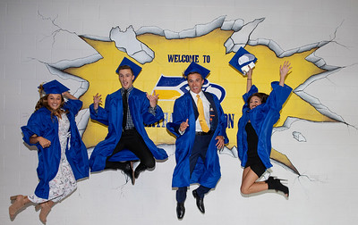 The Meyers quadruplets Reagan, Grant, Jim and Olivia jump for joy before the graduation ceremony held Friday, June 1, 2018 in Johnsburg. Jim Meyers was also 2018 class president. KKoontz – For Shaw Media