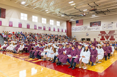 The Marengo class of 2018 listens to speakers during the graduation ceremony Sunday, June 3, 2018 in Marengo.  KKoontz – For Shaw Media