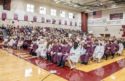 The Marengo class of 2018 celebrates at the close of the graduation ceremony Sunday, June 3, 2018 in Marengo.  KKoontz – For Shaw Media