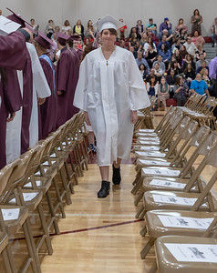Ehanniawia Karen Vanderwest enters the gym for the 2018 Marengo High School graduation ceremony Sunday, June 3, 2018 in Marengo. KKoontz – For Shaw Media