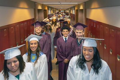 Class of 2018 Marengo High School seniors line up before the Marengo High School graduation ceremony Sunday, June 3, 2018 in Marengo. KKoontz – For Shaw Media