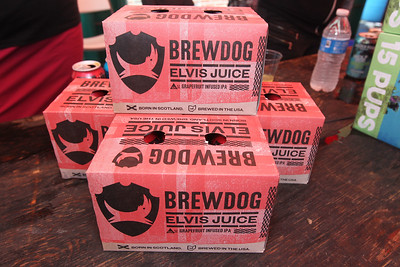 Candace H. Johnson-For Shaw Media Brewdog Elvis Juice, a grapefruit infused IPA, was on hand for sampling during the 6th Annual Grayslake Craft Beer Festival in downtown Grayslake. Eighty-three craft beer vendors sampled their beers at the event.(6/2/18)