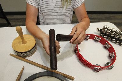 Candace H. Johnson-For Shaw Media Isabella Gmitrovic, 17, of Wauconda makes music with a percussion instrument called, claves, during the Musical Petting Zoo event at the Wauconda Area Library.(6/4/18)