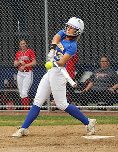 Candace H. Johnson-For Shaw Media Warren's Kayla Nommensen connects on a pitch against Palatine in the second inning during the Class 4A sectional final game at Warren Township High School. Palatine won 11-5. (6/2/18)