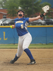Candace H. Johnson-For Shaw Media Warren's Caitlyn Britton delivers a pitch against Palatine in the second inning during the Class 4A sectional final game at Warren Township High School. Palatine won 11-5. (6/2/18)