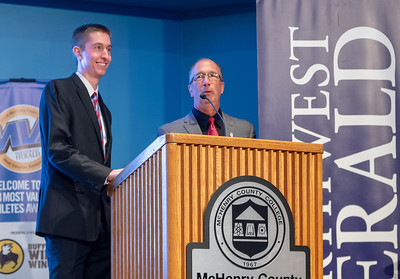 Northwest Herald's Sean Hammond and Joe Stevenson emcee the 2018 Northwest Herald's Most Valuable Athlete Awards which recognizes outstanding local athletes was held Thursday, June 7, 2018 at McHenry County College in Crystal Lake. KKoontz – For Shaw Media