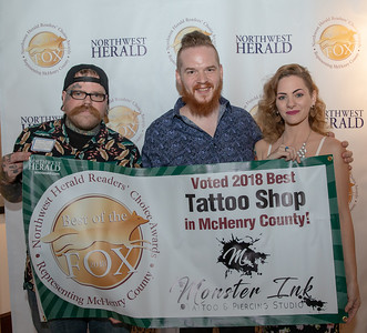 Taylor and Brenna Kuhlmann along with TJ Kruger from Monster Ink Tattoo & Piercing Studio celebrate their 2018 Best of the Fox award for Best Tattoo Shop on Thursday, June 14, 2018 at Lakeside Legacy Arts Park in Crystal Lake. KKoontz – For Shaw Media