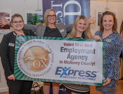 Katy Kelter, Kelly Gillespie, Tiffany Mitsven, and Lori Gajdzik from Express Employment Professionals celebrate their 2018 Best of the Fox award for Best Employment Agency on Thursday, June 14, 2018 at Lakeside Legacy Arts Park in Crystal Lake. KKoontz – For Shaw Media