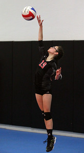 Candace H. Johnson-For Shaw Media Sky High Adidas 12-1 NS team's Isa Swiatkowski, 12, of Mundelein serves against the Chicago Elite's 12-2's team during the National Warm-Up tournament at Sky High Volleyball in Libertyville. Sky High won 16-25, 25-18, 15-6.(6/9/18)
