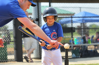 Candace H. Johnson-For Shaw Media Cubs Jesse Adams, of Round Lake, head coach, helps Deklan McCarthy up at bat against the Diamondbacks during the 4-5 years old T-Ball League game at Alleghany Park in Grayslake. The games are sponsored by the Grayslake Park District.(6/16/18)