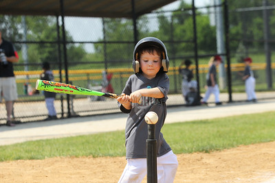 Candace H. Johnson-For Shaw Media Diamondbacks Jack Bruntmyer takes a swing up at bat against the Cubs during the 4-5 years old T-Ball League game at Alleghany Park in Grayslake. The games are sponsored by the Grayslake Park District.(6/16/18)